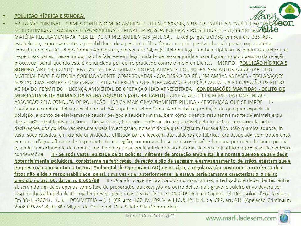 POLUIÇÃO HÍDRICA E SONORA: