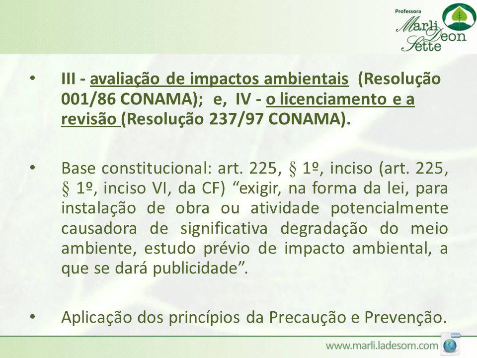 III - avaliação de impactos ambientais (Resolução 001/86 CONAMA); e, IV - o licenciamento e a revisão (Resolução 237/97 CONAMA).
