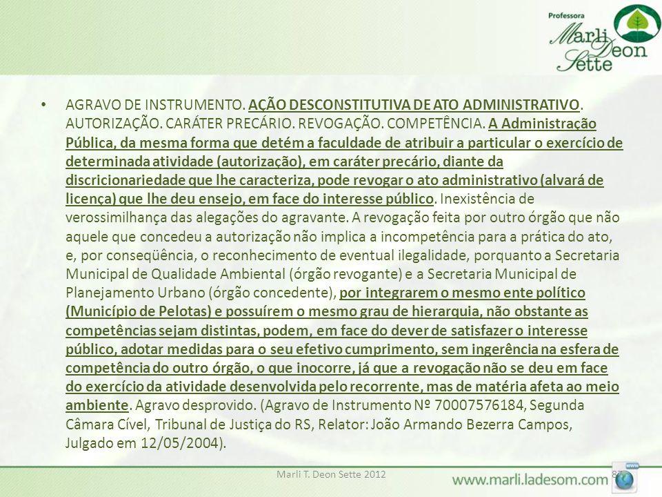 AGRAVO DE INSTRUMENTO. AÇÃO DESCONSTITUTIVA DE ATO ADMINISTRATIVO