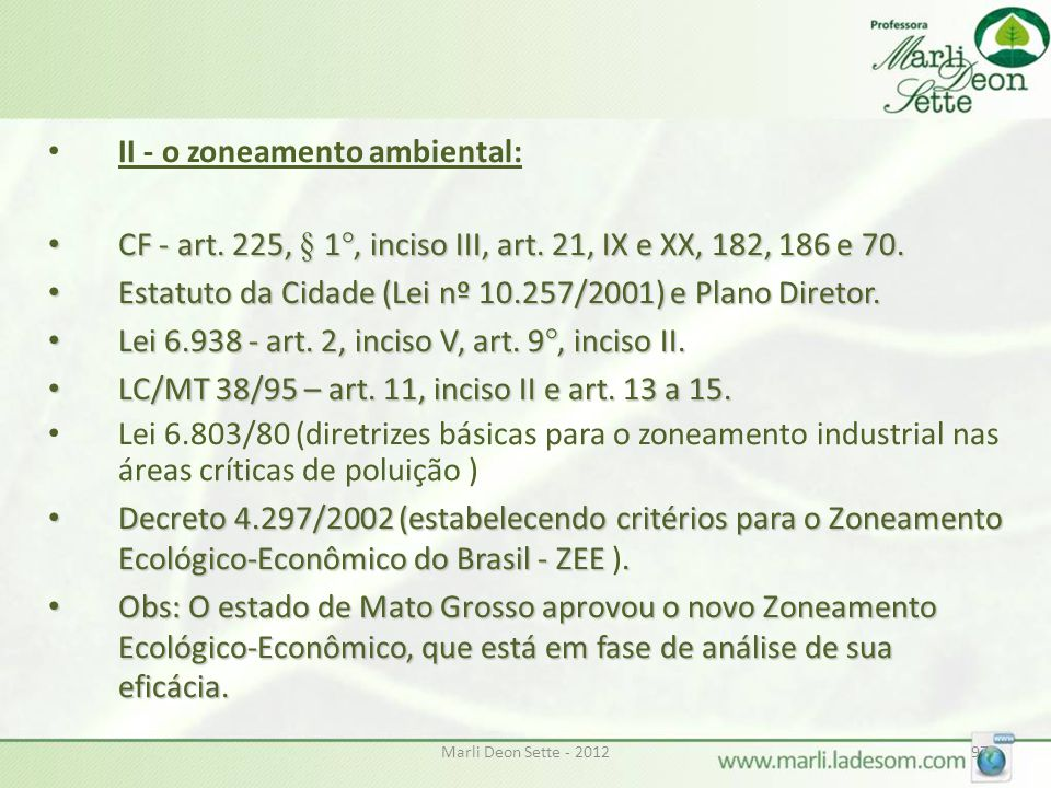 II - o zoneamento ambiental: