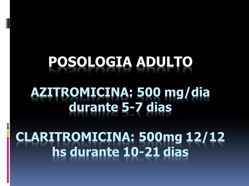 POSOLOGIA ADULTO AZITROMICINA: 500 mg/dia durante 5-7 dias CLARITROMICINA: 500mg 12/12 hs durante 10-21 dias