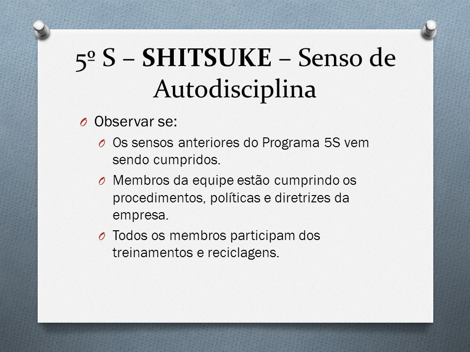 5º S – SHITSUKE – Senso de Autodisciplina