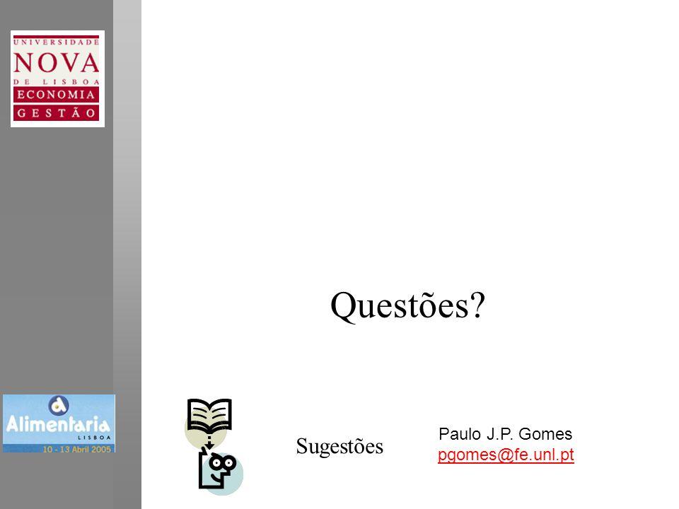 Questões Paulo J.P. Gomes pgomes@fe.unl.pt Sugestões