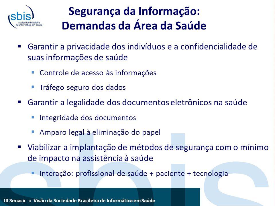Segurança da Informação: Demandas da Área da Saúde