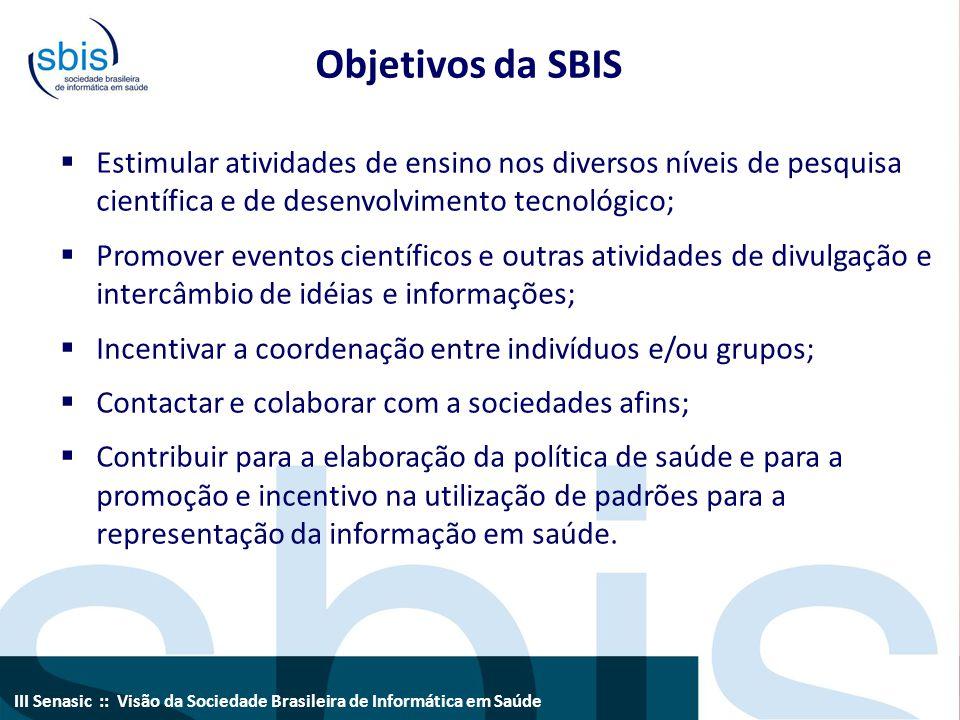Objetivos da SBIS Estimular atividades de ensino nos diversos níveis de pesquisa científica e de desenvolvimento tecnológico;