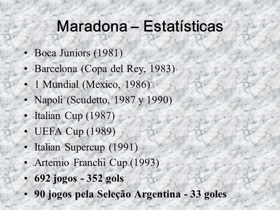 Maradona – Estatísticas