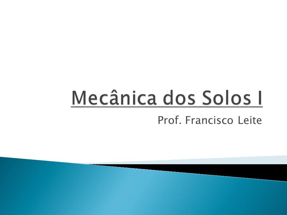 Mecânica dos Solos I Prof. Francisco Leite