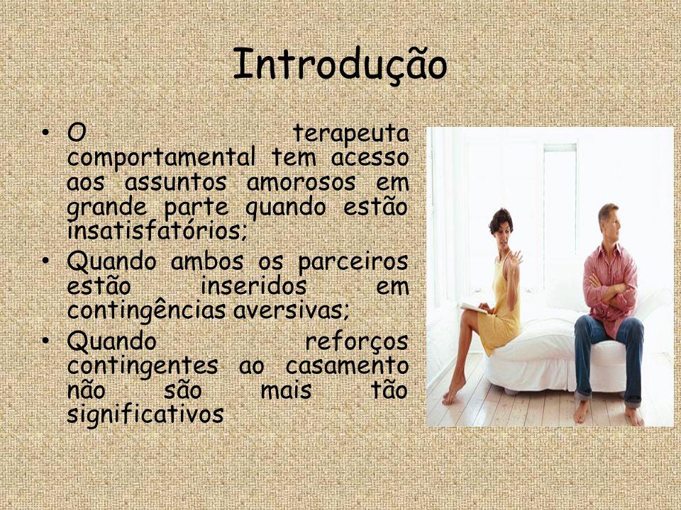 Introdução O terapeuta comportamental tem acesso aos assuntos amorosos em grande parte quando estão insatisfatórios;