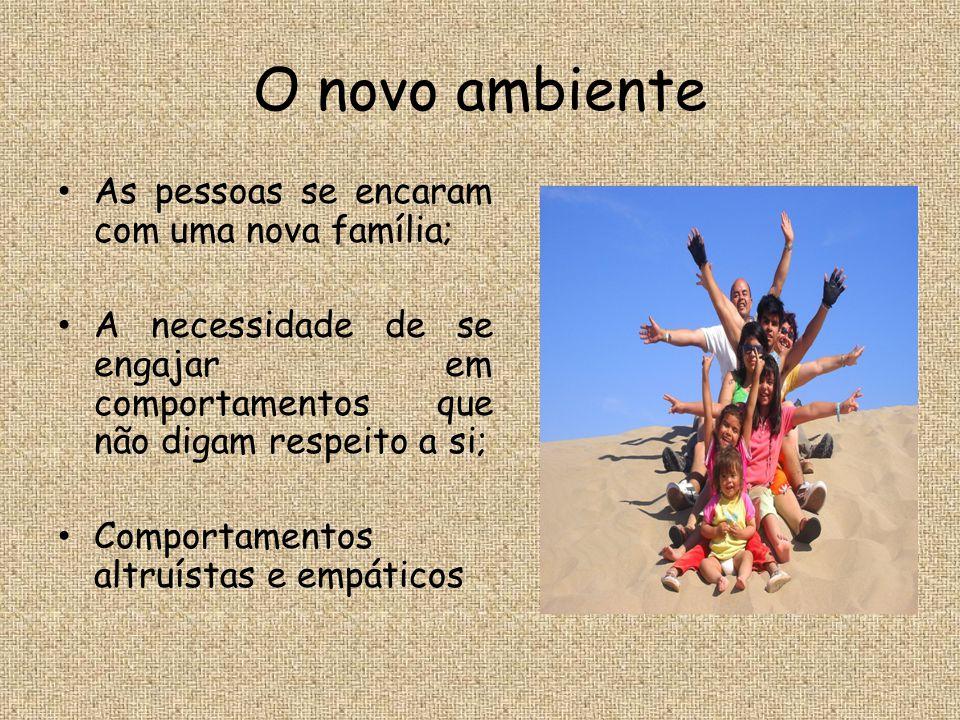 O novo ambiente As pessoas se encaram com uma nova família;