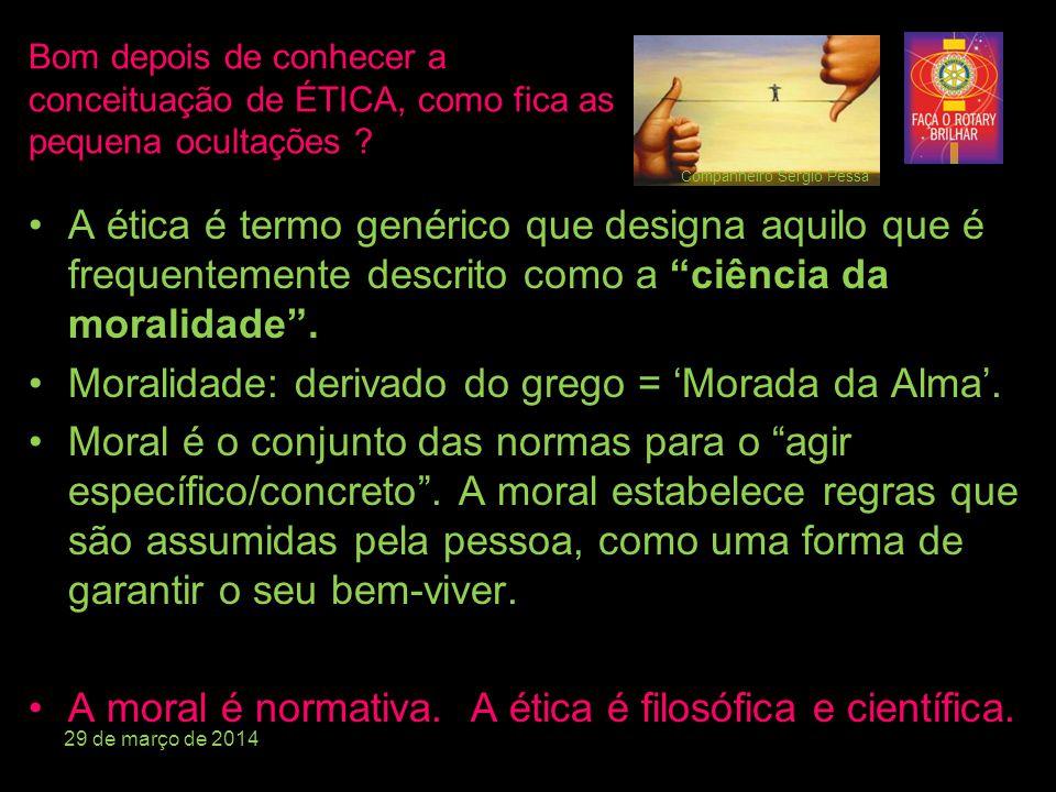 Moralidade: derivado do grego = 'Morada da Alma'.