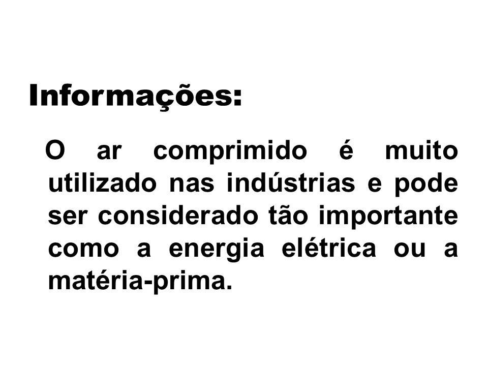 Informações: O ar comprimido é muito utilizado nas indústrias e pode ser considerado tão importante como a energia elétrica ou a matéria-prima.