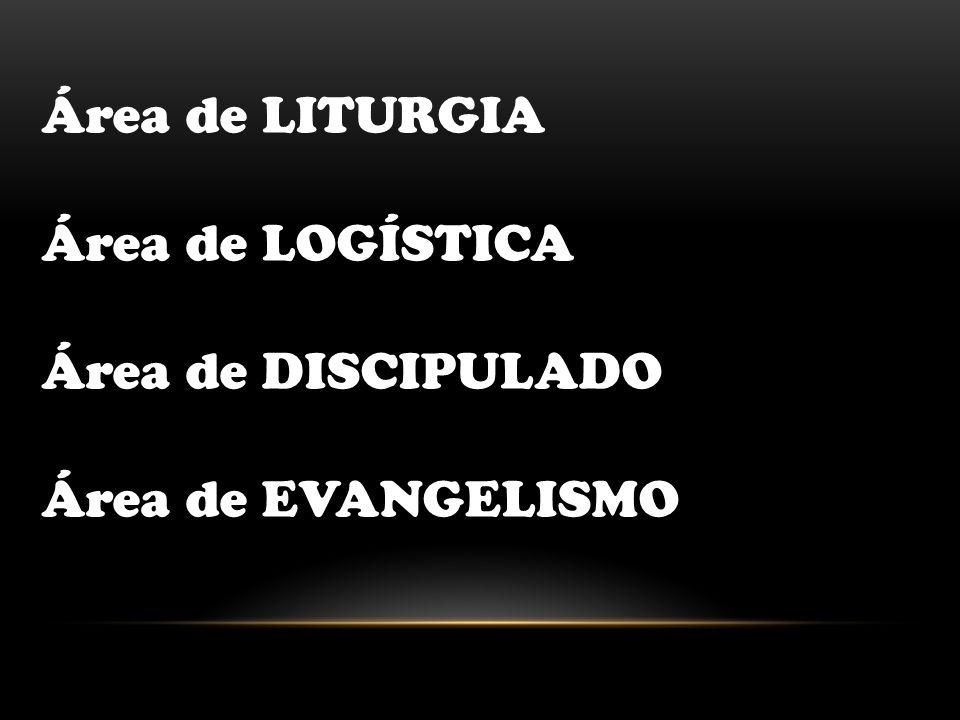 Área de LITURGIA Área de LOGÍSTICA Área de DISCIPULADO Área de EVANGELISMO
