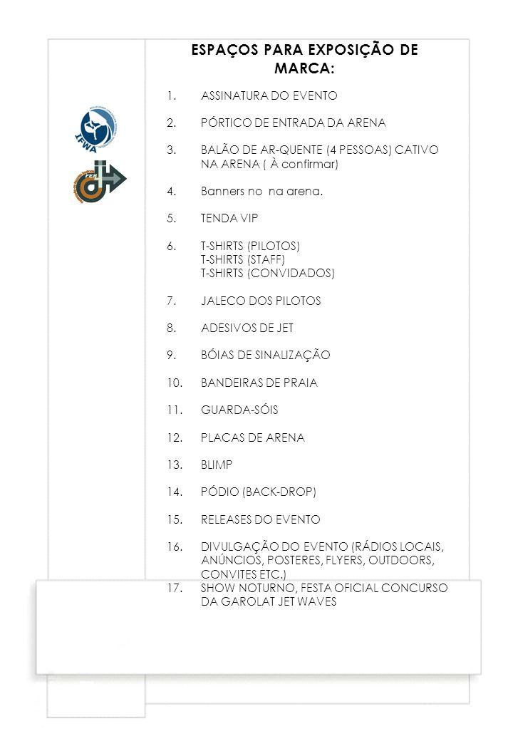 ESPAÇOS PARA EXPOSIÇÃO DE MARCA: