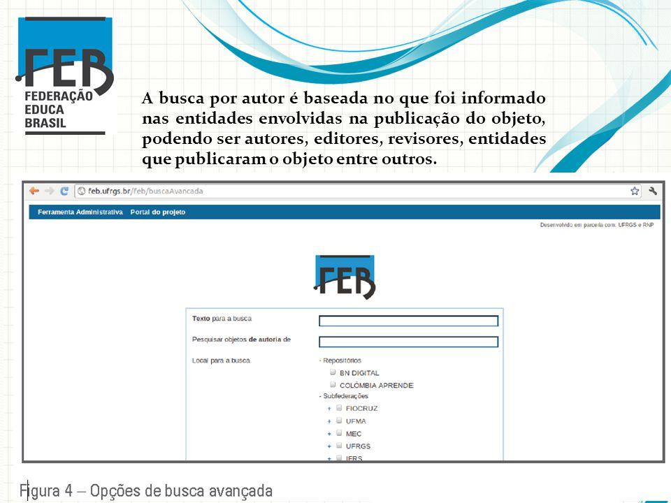 A busca por autor é baseada no que foi informado nas entidades envolvidas na publicação do objeto, podendo ser autores, editores, revisores, entidades que publicaram o objeto entre outros.