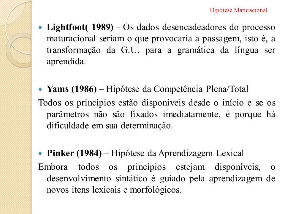 Yams (1986) – Hipótese da Competência Plena/Total