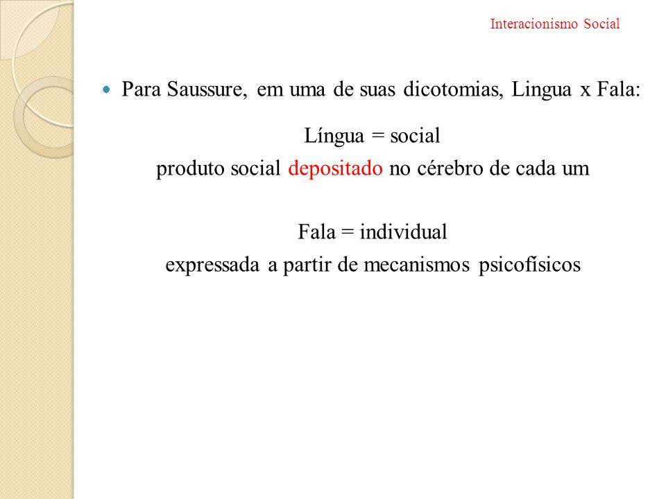 Para Saussure, em uma de suas dicotomias, Lingua x Fala: