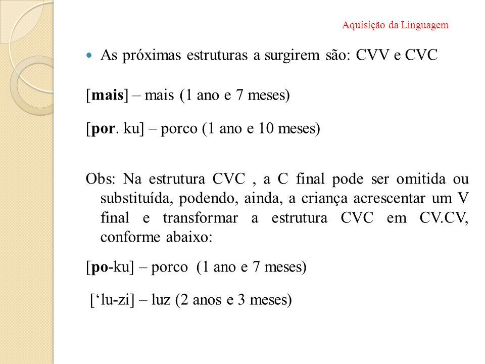 As próximas estruturas a surgirem são: CVV e CVC