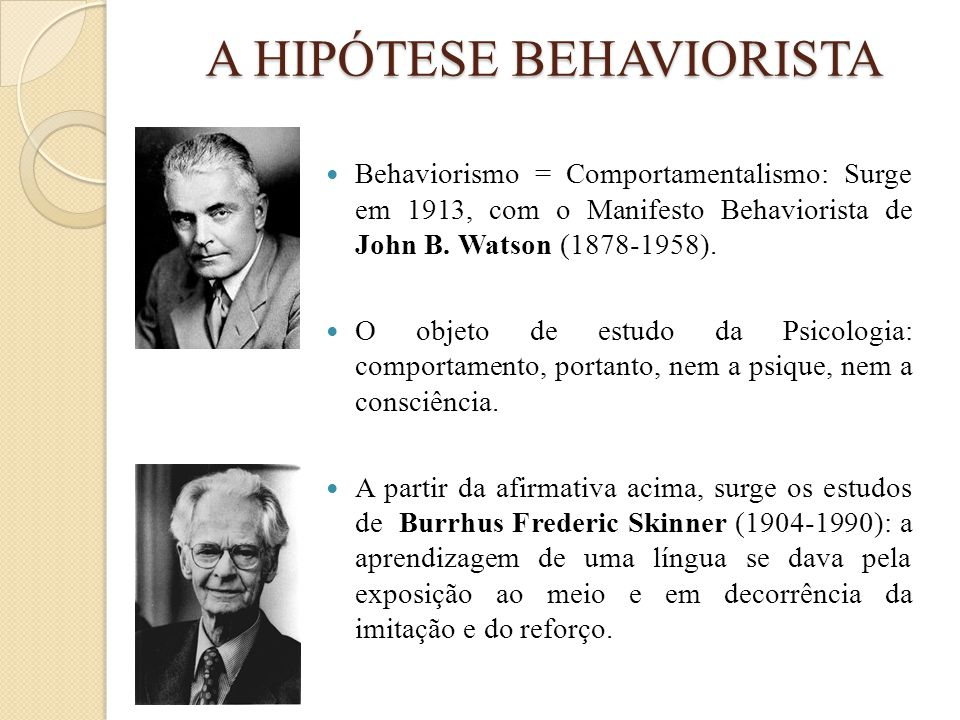 A HIPÓTESE BEHAVIORISTA