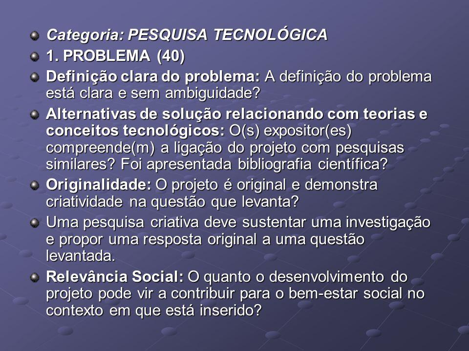 Categoria: PESQUISA TECNOLÓGICA