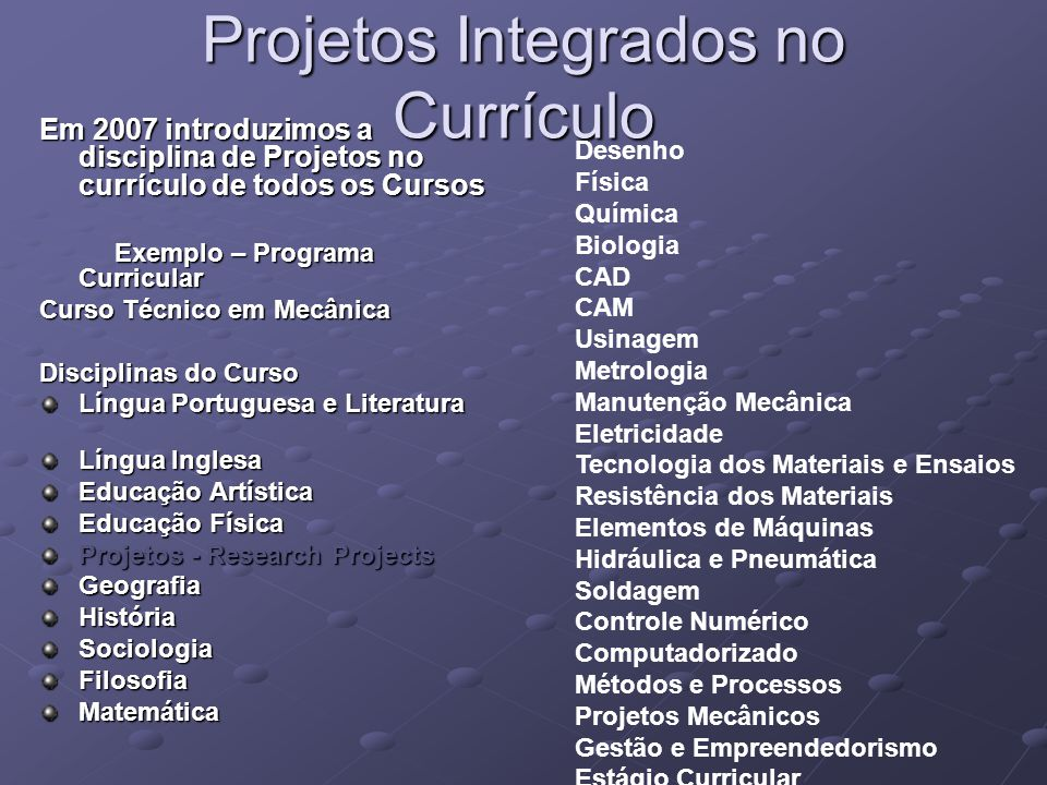 Projetos Integrados no Currículo
