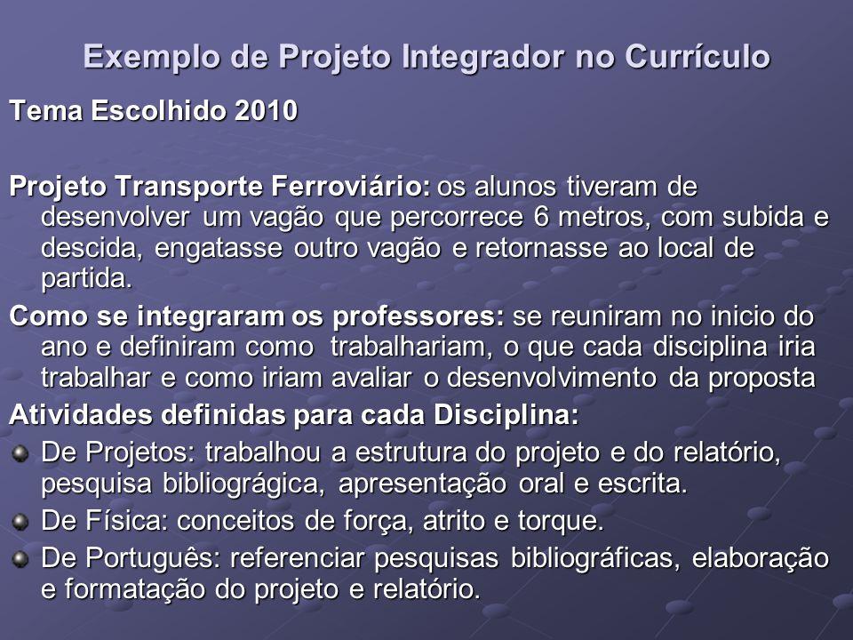 Exemplo de Projeto Integrador no Currículo