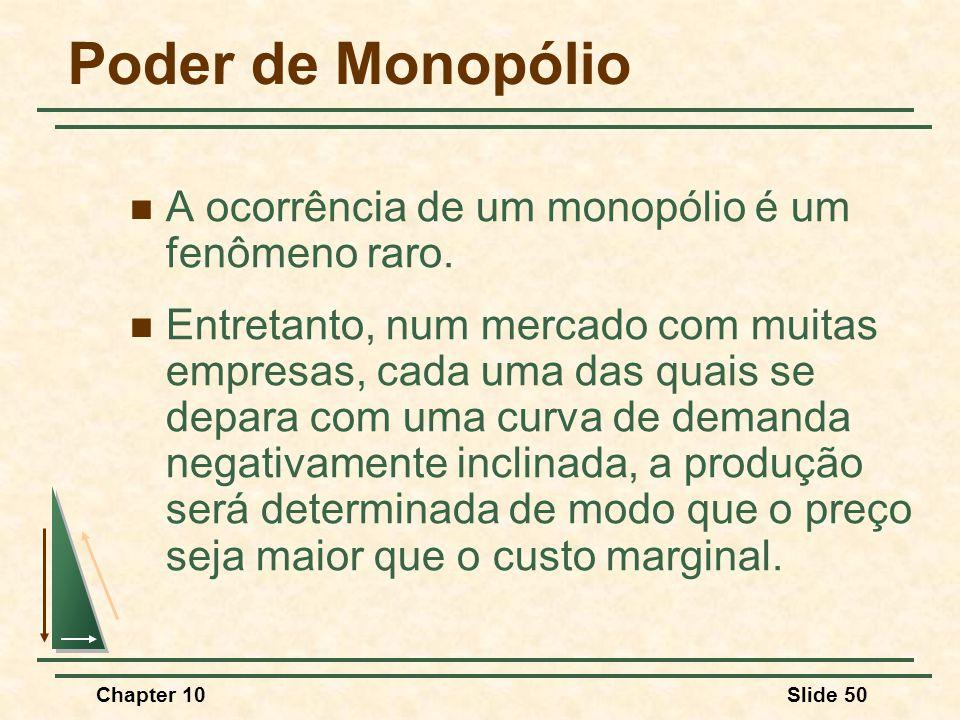 Poder de Monopólio A ocorrência de um monopólio é um fenômeno raro.