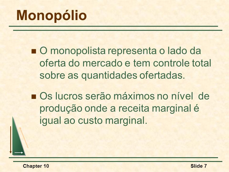 Monopólio O monopolista representa o lado da oferta do mercado e tem controle total sobre as quantidades ofertadas.