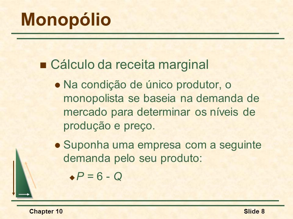 Monopólio Cálculo da receita marginal