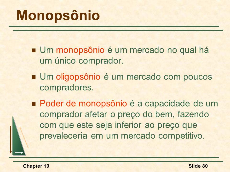 Monopsônio Um monopsônio é um mercado no qual há um único comprador.