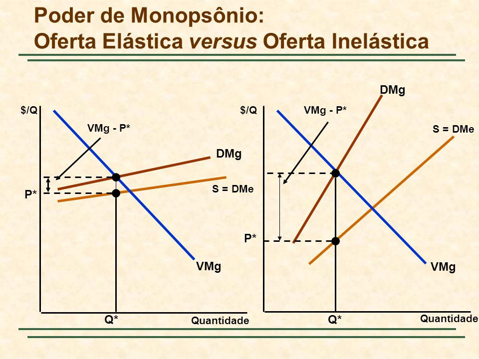 Poder de Monopsônio: Oferta Elástica versus Oferta Inelástica