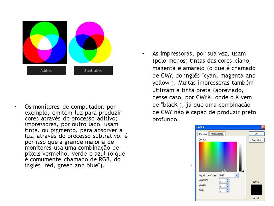 As impressoras, por sua vez, usam (pelo menos) tintas das cores ciano, magenta e amarelo (o que é chamado de CMY, do inglês cyan, magenta and yellow ). Muitas impressoras também utilizam a tinta preta (abreviado, nesse caso, por CMYK, onde o K vem de blacK ), já que uma combinação de CMY não é capaz de produzir preto profundo.