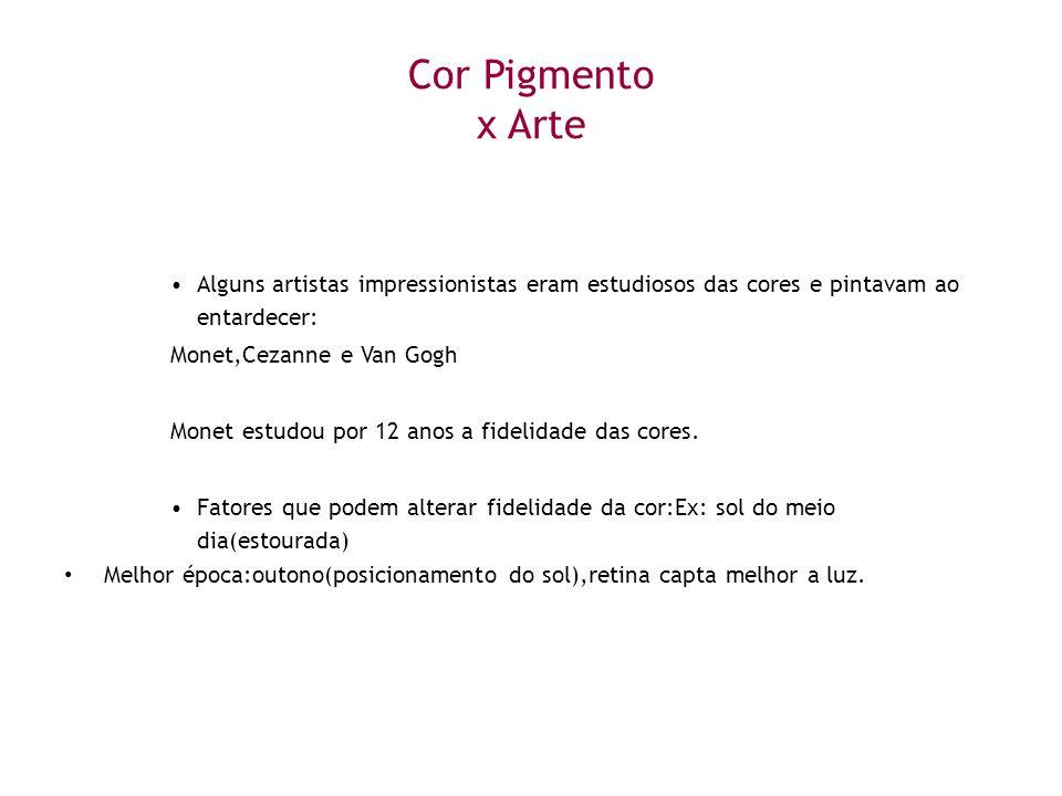 Cor Pigmento x Arte Alguns artistas impressionistas eram estudiosos das cores e pintavam ao entardecer:
