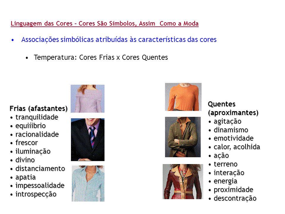 Associações simbólicas atribuídas às características das cores