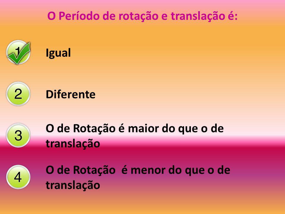 O Período de rotação e translação é: