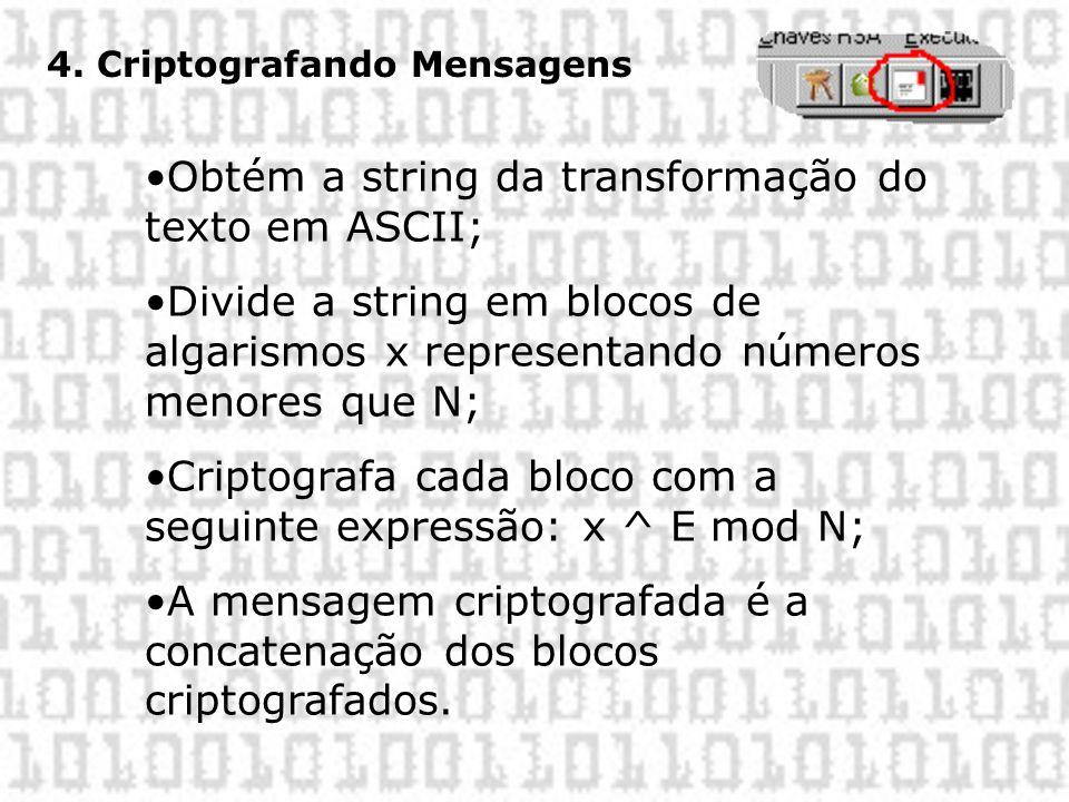 Obtém a string da transformação do texto em ASCII;