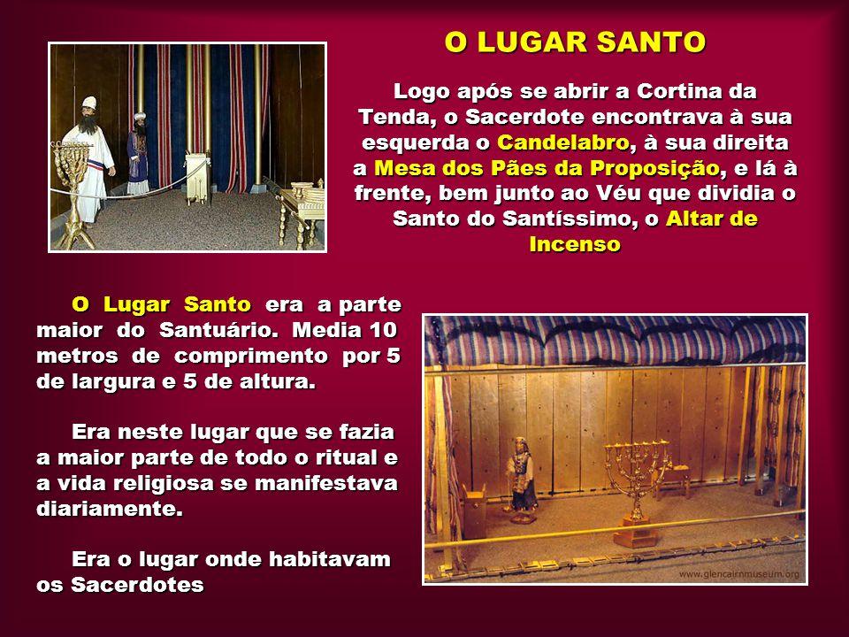 O LUGAR SANTO Logo após se abrir a Cortina da Tenda, o Sacerdote encontrava à sua esquerda o Candelabro, à sua direita a Mesa dos Pães da Proposição, e lá à frente, bem junto ao Véu que dividia o Santo do Santíssimo, o Altar de Incenso