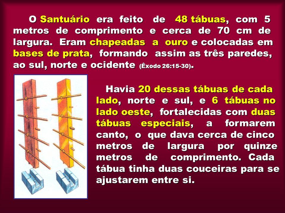 O Santuário era feito de 48 tábuas, com 5 metros de comprimento e cerca de 70 cm de largura. Eram chapeadas a ouro e colocadas em bases de prata, formando assim as três paredes, ao sul, norte e ocidente (Êxodo 26:15-30).