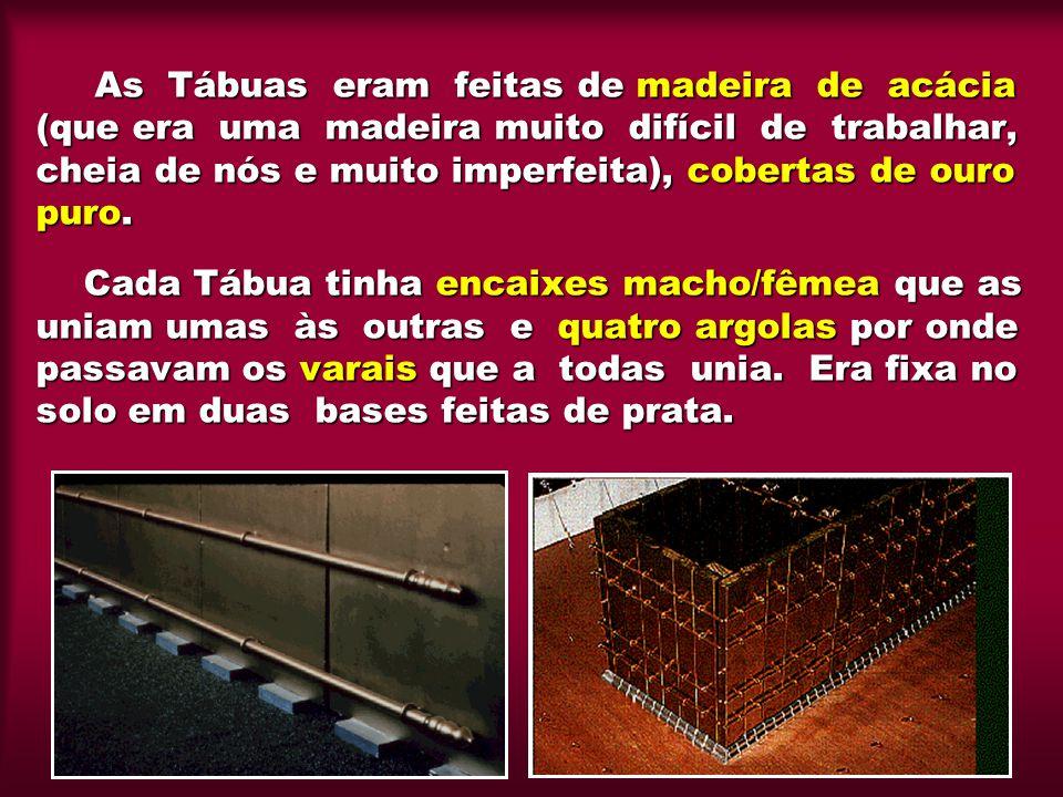 As Tábuas eram feitas de madeira de acácia (que era uma madeira muito difícil de trabalhar, cheia de nós e muito imperfeita), cobertas de ouro puro.
