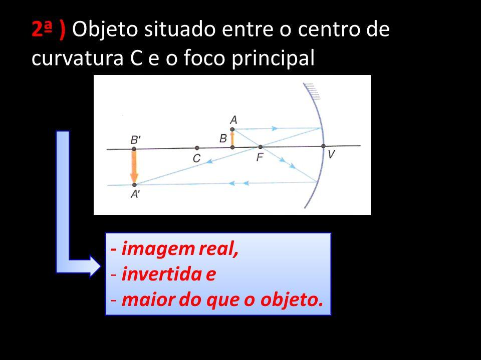 2ª ) Objeto situado entre o centro de curvatura C e o foco principal