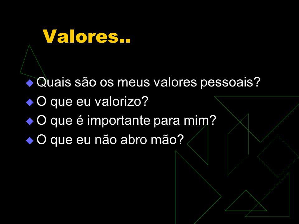 Valores.. Quais são os meus valores pessoais O que eu valorizo