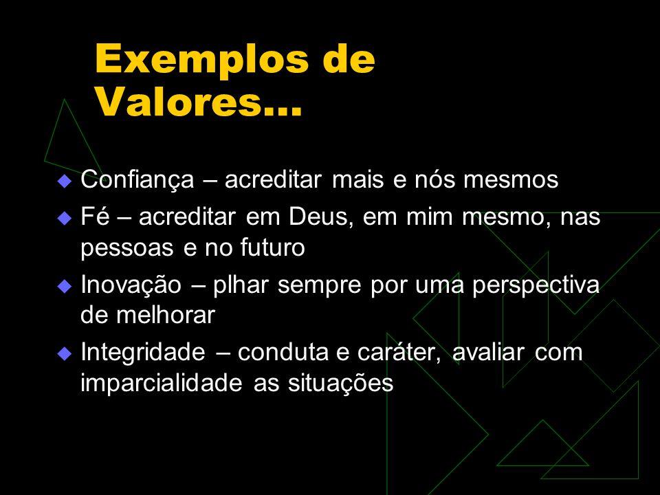Exemplos de Valores... Confiança – acreditar mais e nós mesmos