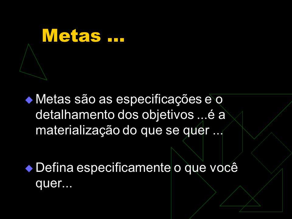 Metas ... Metas são as especificações e o detalhamento dos objetivos ...é a materialização do que se quer ...