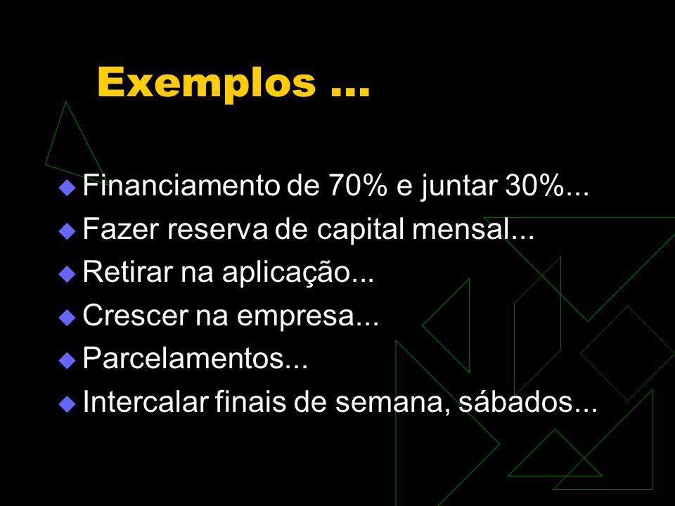 Exemplos ... Financiamento de 70% e juntar 30%...