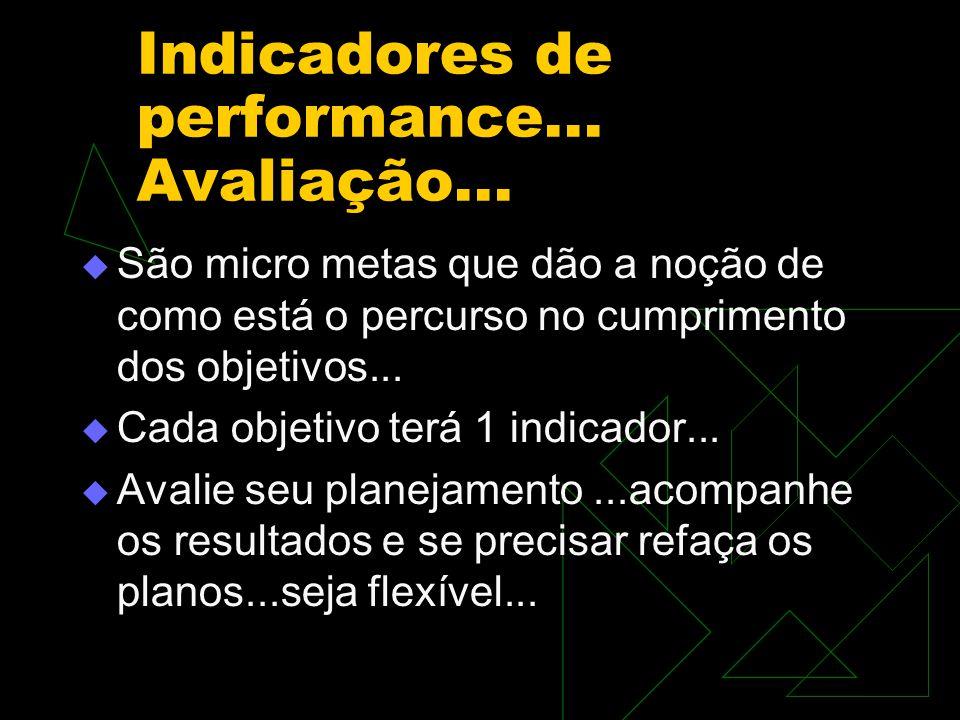 Indicadores de performance... Avaliação...