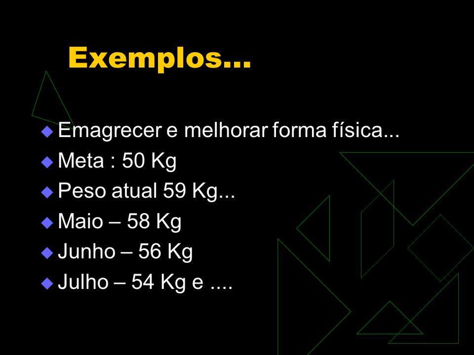 Exemplos... Emagrecer e melhorar forma física... Meta : 50 Kg