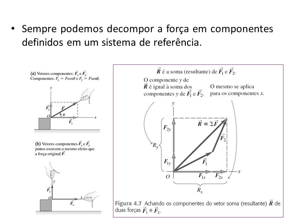 Sempre podemos decompor a força em componentes definidos em um sistema de referência.
