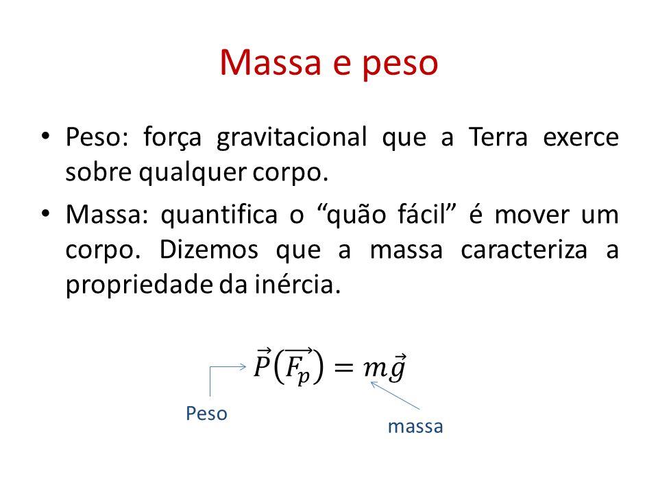 Massa e peso Peso: força gravitacional que a Terra exerce sobre qualquer corpo.