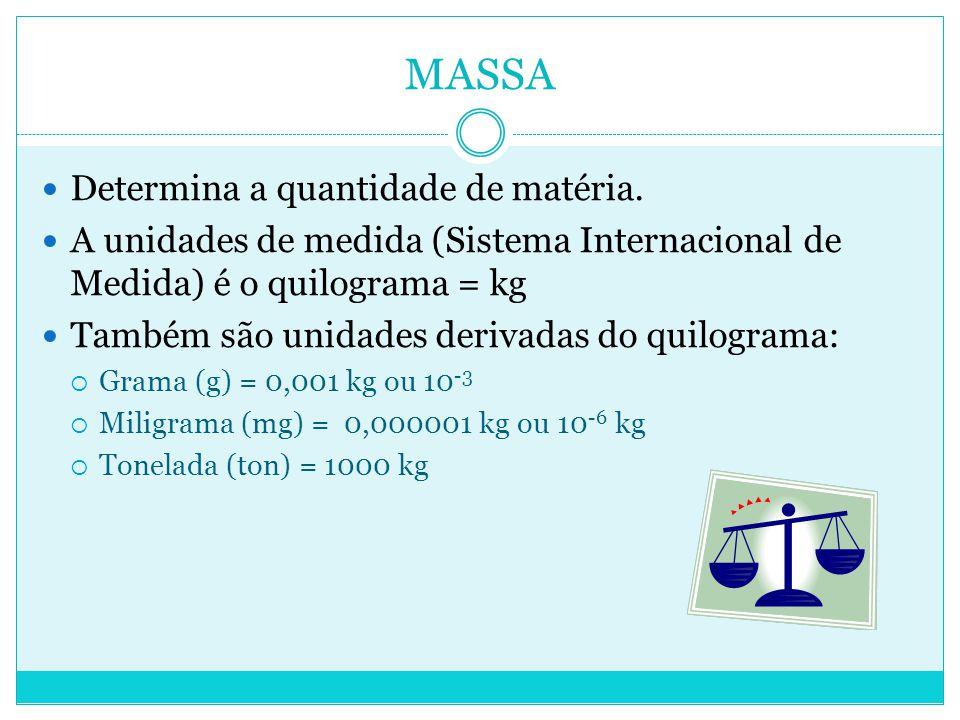MASSA Determina a quantidade de matéria.