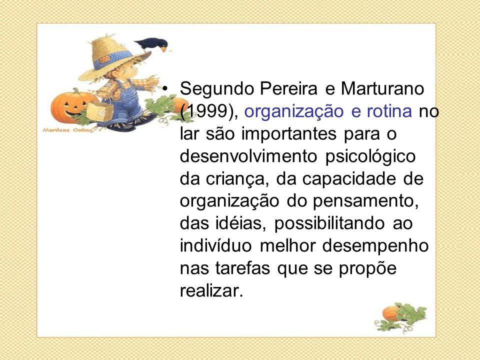 Segundo Pereira e Marturano (1999), organização e rotina no lar são importantes para o desenvolvimento psicológico da criança, da capacidade de organização do pensamento, das idéias, possibilitando ao indivíduo melhor desempenho nas tarefas que se propõe realizar.