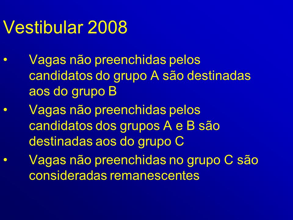 Vestibular 2008 Vagas não preenchidas pelos candidatos do grupo A são destinadas aos do grupo B.